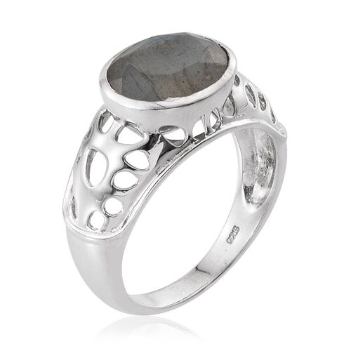 Labradorite (Ovl) Solitaire Ring in Platinum Overlay Sterling Silver 4.000 Ct.
