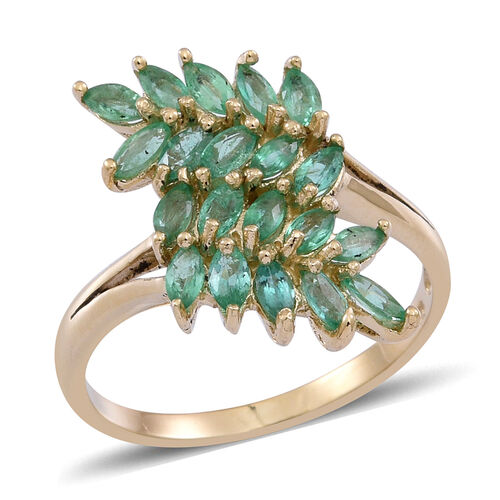 9K Y Gold AAA Kagem Zambian Emerald (Mrq) Leaves Crossover Ring 1.750 Ct.