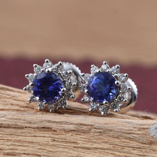 ILIANA 18K W Gold AAA Tanzanite (Rnd), Diamond Stud Earrings (with Screw Back) 1.000 Ct.