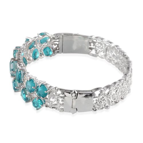 Capri Blue Quartz Bangle (Size 7) in Platinum Overlay Sterling Silver 15.500 Ct.
