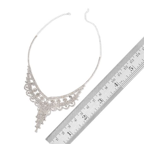 Designer Inspired-AAA White Austrian Crystal Chandelier Necklace (Size 22) and Earrings (with Push Back) Silver Plated