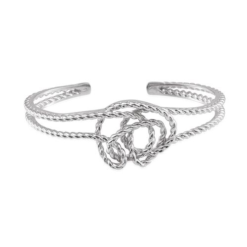 Platinum Overlay Sterling Silver Knot Bangle (Size 7.5), Silver wt 30.00 Gms.