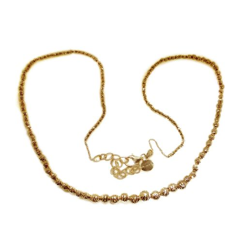JCK Vegas Collection 9K Y Gold Diamond Cut Beads Necklace  (Size 18 with 2 inch Extender), Gold wt 10.13 Gms.