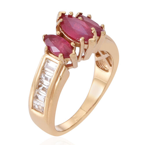 African Ruby (Mrq 0.90 Ct), White Topaz Ring in 14K Gold Overlay Sterling Silver 2.800 Ct.