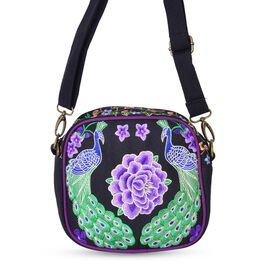 One Time Deal-Shanghai Collection Peacock and Floral Embroidered Crossbody Bag with Adjustable and Removable Shoulder Strap (Size 18.5X17.5X7.5 Cm)