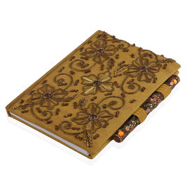 Zari Art Work Silk Brown Colour Notebook (Size 17.78X12.70 Cm) with Beads Embellished Pen