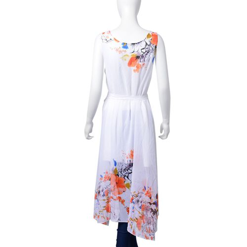 Red, White and Multi Colour Floral Pattern Dress (Size 108X95 Cm)
