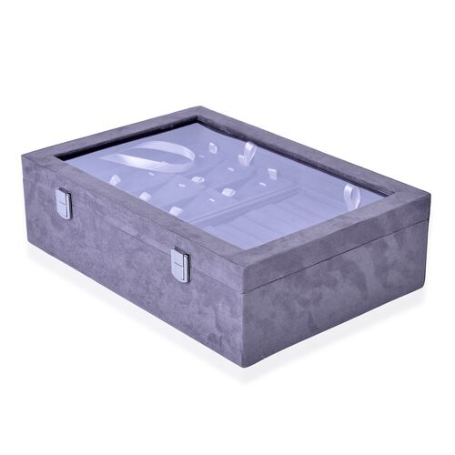 Grey Colour Two Layer Jewellery Box with Transparent Top (Size 35.5X24.3X10 Cm)