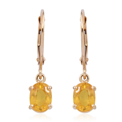9K Yellow Gold Chanthaburi Yellow Sapphire (Ovl) Lever Back Earrings 2.000 Ct.