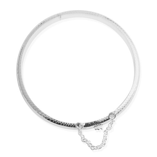 Limited Edition- Designer Inspired Sterling Silver Diamond Cut Bangle (Size 7.5) Silver wt 8.00 Gms.