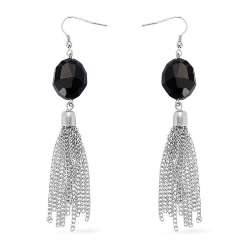Simulated Black Spinel Tassel Pendant With Chain (Size 32) and Hook Earrings in Silver Tone
