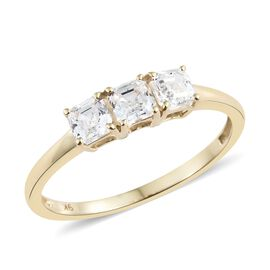 J Francis - 9K Yellow Gold (Asscher Cut) Trilogy Ring Made with SWAROVSKI ZIRCONIA