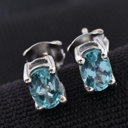 Paraibe Apatite (Ovl) Stud Earrings (with Push Back) in Platinum Overlay Sterling Silver 1.250 Ct.