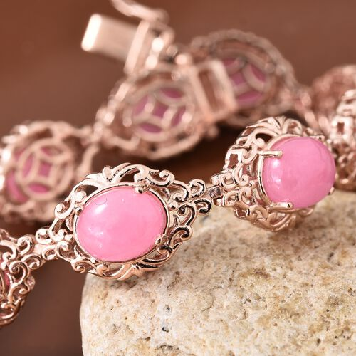 Limited Available-Pink Jade (Ovl) Bracelet (Size 7.5) in Rose Gold Overlay Sterling Silver 31.750 Ct.Silver Wt 17.50 Gms