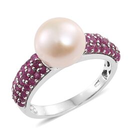 Fresh Water Pearl (Rnd 10mm), African Ruby Ring in Platinum Overlay Sterling Silver