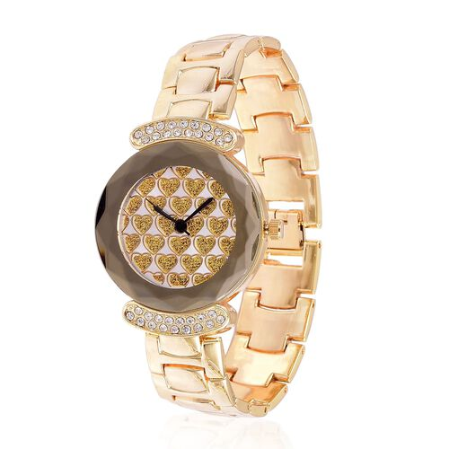 GENOA Japanese Movement Yellow Heart Pattern Dial Watch with White Austrian Crystal in Yellow Gold Tone