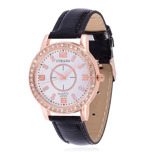 STRADA Japanese Movement White Austrian Crystal Studded White Dial Water Resistant Watch in Rose Gold Tone with Stainless Steel Back and Black Strap