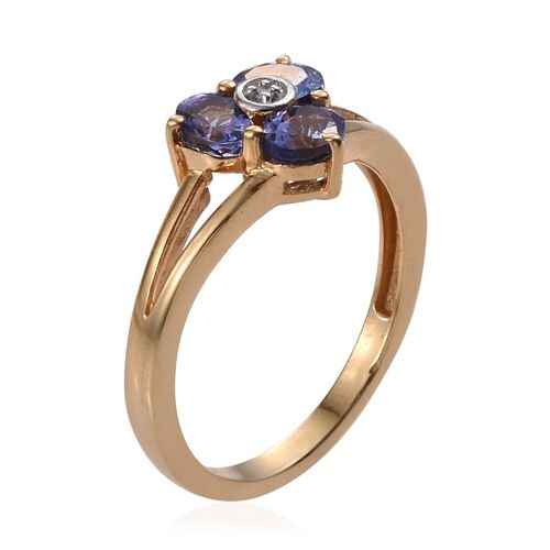 Tanzanite (Ovl), Diamond Ring in 14K Gold Overlay Sterling Silver 1.010 Ct.
