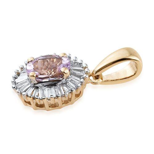 14K Yellow Gold Pink Tanzanite (Ovl), Diamond Pendant 0.500 Ct.