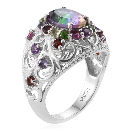 GP Northern Lights Mystic Topaz (Ovl 2.20 Ct), Hebei Peridot, Tanzanite, Amethyst, Kanchanaburi Blue Sapphire and Multi GemStone Ring in Platinum Overlay Sterling Silver 3.250 Ct.