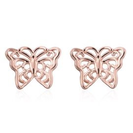 Rose Gold Overlay Sterling Silver Butterfly Stud Earrings (with Push Back)