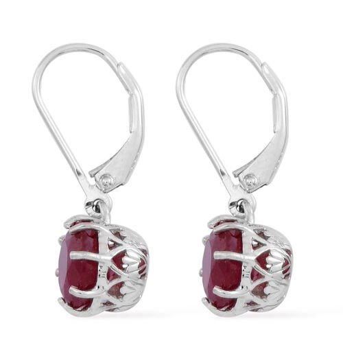African Ruby (Rnd) Lever Back Earrings in Rhodium Plated Sterling Silver 5.500 Ct.