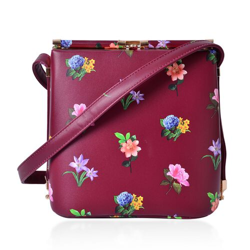 Red and Multi Colour Floral Pattern Clutch Bag with Shoulder Strap (Size 22x21.5x14 Cm)