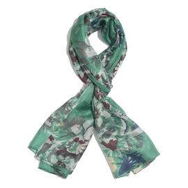 100% Mulberry Silk Green, Grey and Multi Colour Floral Hand Screen Printed Scarf (Size 180X100 Cm)