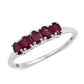 African Ruby (Ovl) 5 Stone Ring in Sterling Silver 2.000 Ct.