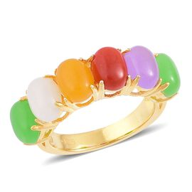 White Jade (Ovl), Purple Jade, Yellow Jade, Red Jade and Green Jade Ring in Yellow Gold Overlay Sterling Silver 10.070 Ct.