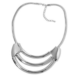 Designer Inspired-Hand Made Triple Row High Polished Necklace (Size 20) Silver Plated