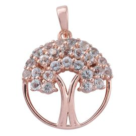 Espirito Santo Aquamarine 0.75 Ct Silver Tree of Life Pendant in Rose Gold Overlay