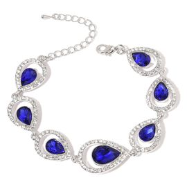 Peacock Feather Inspired Simulated Tanzanite and White Austrian Crystal Bracelet (Size 7.5 with 2 inch Extender) in Silver Tone