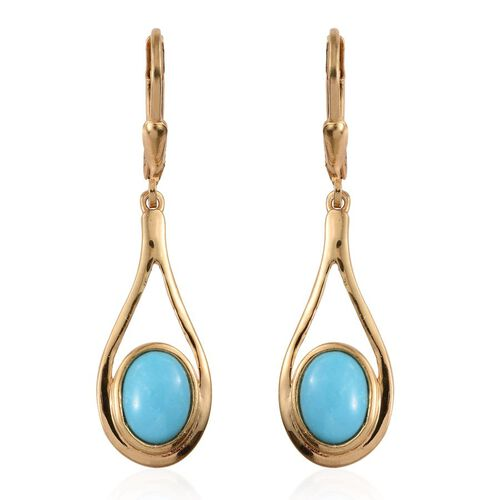 Arizona Sleeping Beauty Turquoise (Ovl) Lever Back Earrings in 14K Gold Overlay Sterling Silver 2.750 uCt.