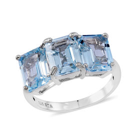 Sky Blue Topaz (Oct) Trilogy Ring in Rhodium Plated Sterling Silver 10.000 Ct.