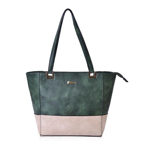 Green and Light Beige Colour Tote Bag with External Zipper Pocket (Size 40x28x27x13.5 Cm)