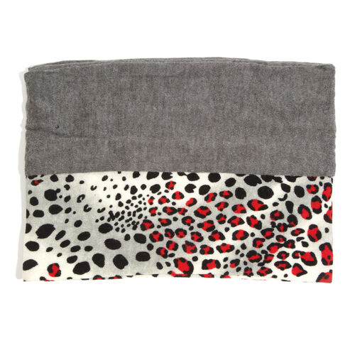 Limited Available-Red and Grey Colour Leopard Pattern Infinity Scarf (Size 74x26 Cm)