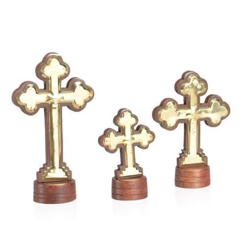 Home Decor - Wooden Set of 3 Table Cross with Full B/W (Size 7.5, 6 and 4.5 inch)
