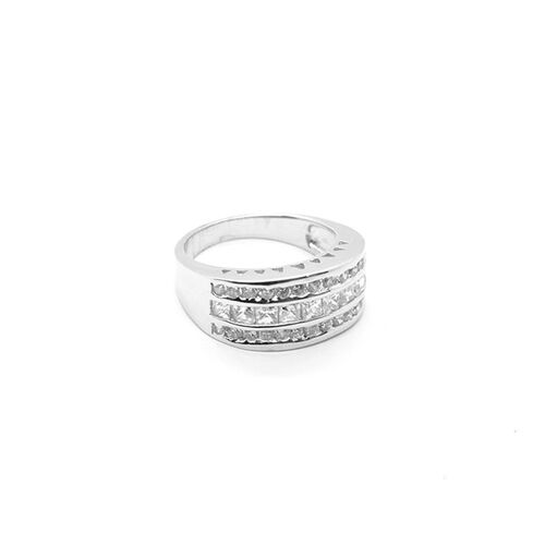 AAA Simulated Diamond Ring in Sterling Silver 0.600 Ct.