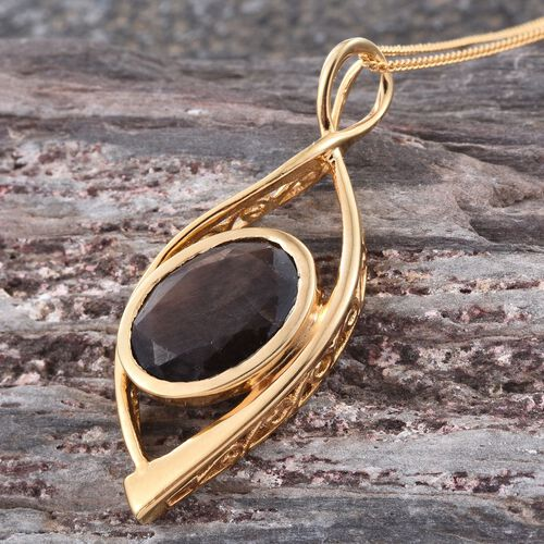 Natural Zawadi Golden Sheen Sapphire (Ovl) Solitaire Pendant With Chain in 14K Gold Overlay Sterling Silver 7.750 Ct.