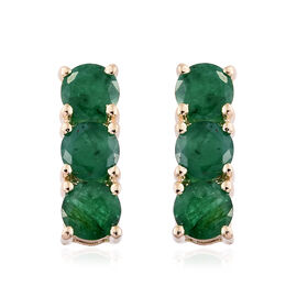9K Yellow Gold 1.50 Ct AA Kagem Zambian Emerald Earrings (with Push Back)