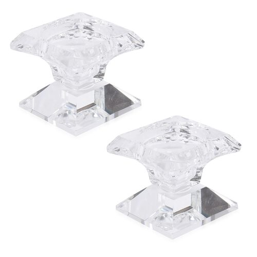 Set of 2 - Square Shape Candle Holder with Crystal Base (Size 6X6 Cm)