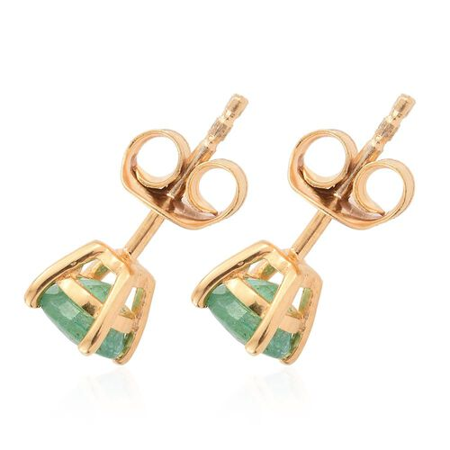 Zambian Emerald 1 Carat Silver Solitaire Stud Earrings in Gold Overlay