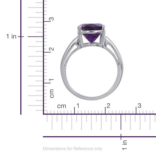 Uruguay Amethyst (Ovl) Solitaire Ring in Platinum Overlay Sterling Silver 3.000 Ct.