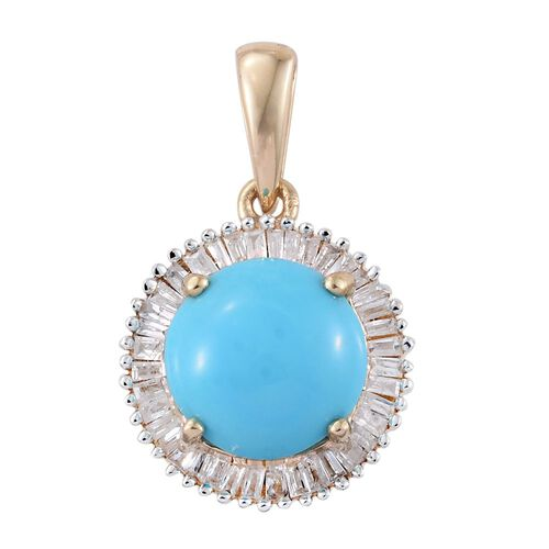 9K Y Gold AAA Arizona Sleeping Beauty Turquoise (Rnd 2.25 Ct), Diamond Pendant 2.500 Ct.