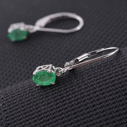 ILIANA 18K W Gold Boyaca Colombian Emerald (Ovl) Lever Back Earrings 0.850 Ct.
