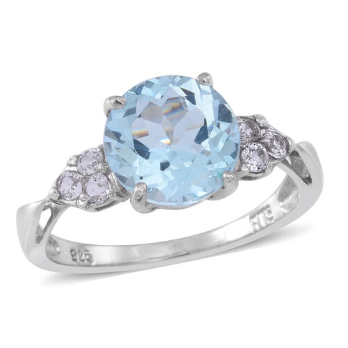 Sky Blue Topaz (Rnd 3.50 Ct), White Topaz Ring in Rhodium Plated Sterling Silver 4.000 Ct.
