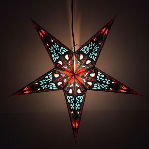 Home Decor - Paisley Pattern Blue, Red and Multi Colour Handmade Star with Electric Cable (Size 60 Cm)