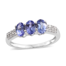 9K White Gold 1.50 Carat AA Tanzanite Ring with Natural Cambodian Zircon