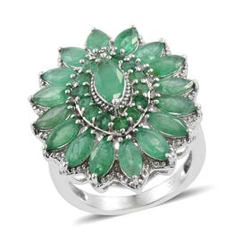 Kagem Zambian Emerald (Mrq 0.50 Ct) Floral Ring in Platinum Overlay Sterling Silver 4.000 Ct.